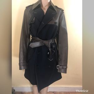Ralph Lauren wool and leather coat